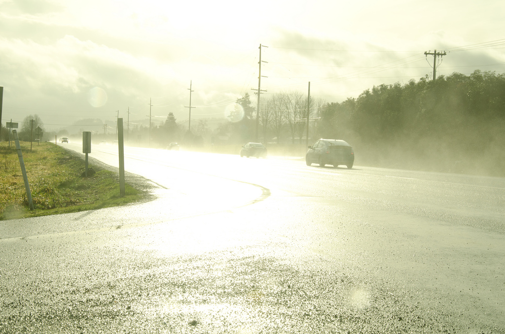 The weather effects are clearly visible; would you slow down accordingly? (Photo by Reid Beels, CC -licensed)